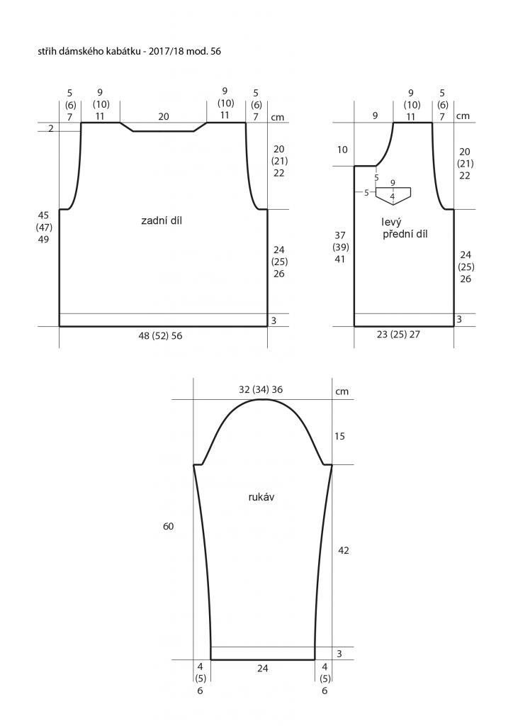 2017-2018 model 56 střih dámského pleteného kabátku