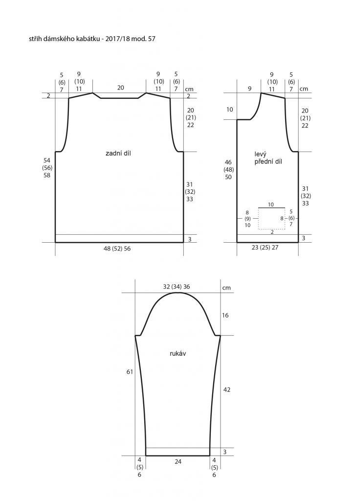 2017-2018 model 57 střih dámského pleteného kabátku