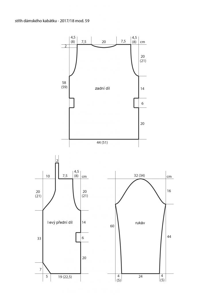 2017-2018 model 59 střih dámského pleteného kabátku