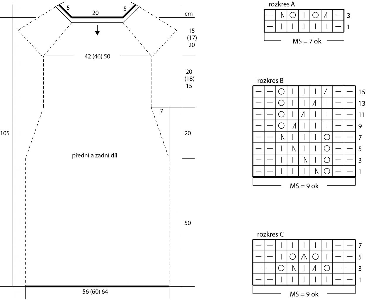 2018-L-15 dámské šaty z příze Satin Cotton firmy Schoeller - střih a rozkres