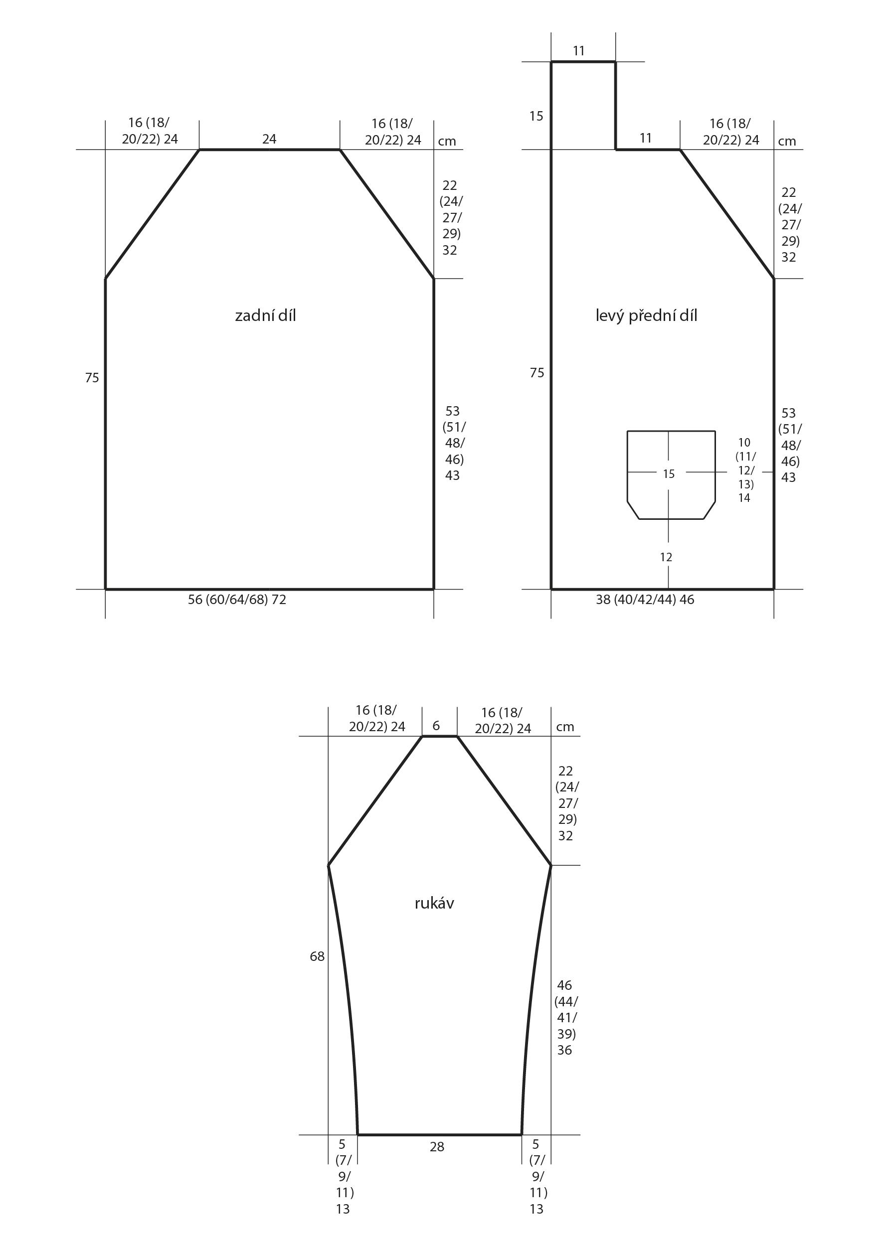 2018-Z-04 střih pleteného kabátku