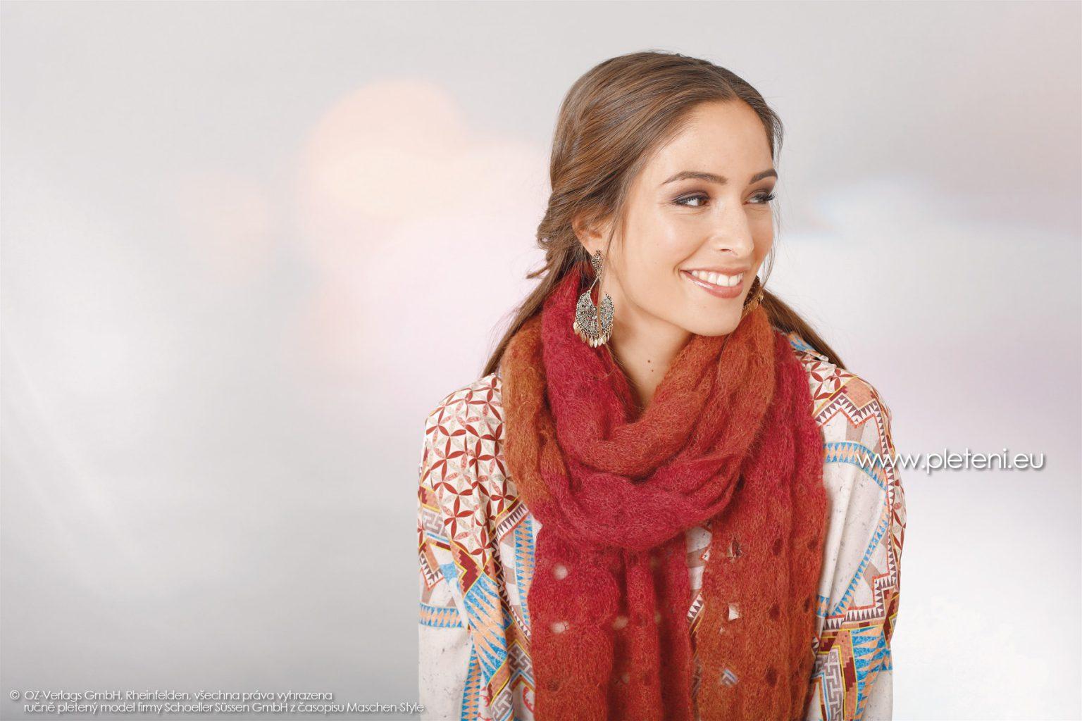 2018-Z-06 dámská pletená šála z příze Kid Silk Degradé firmy Schoeller