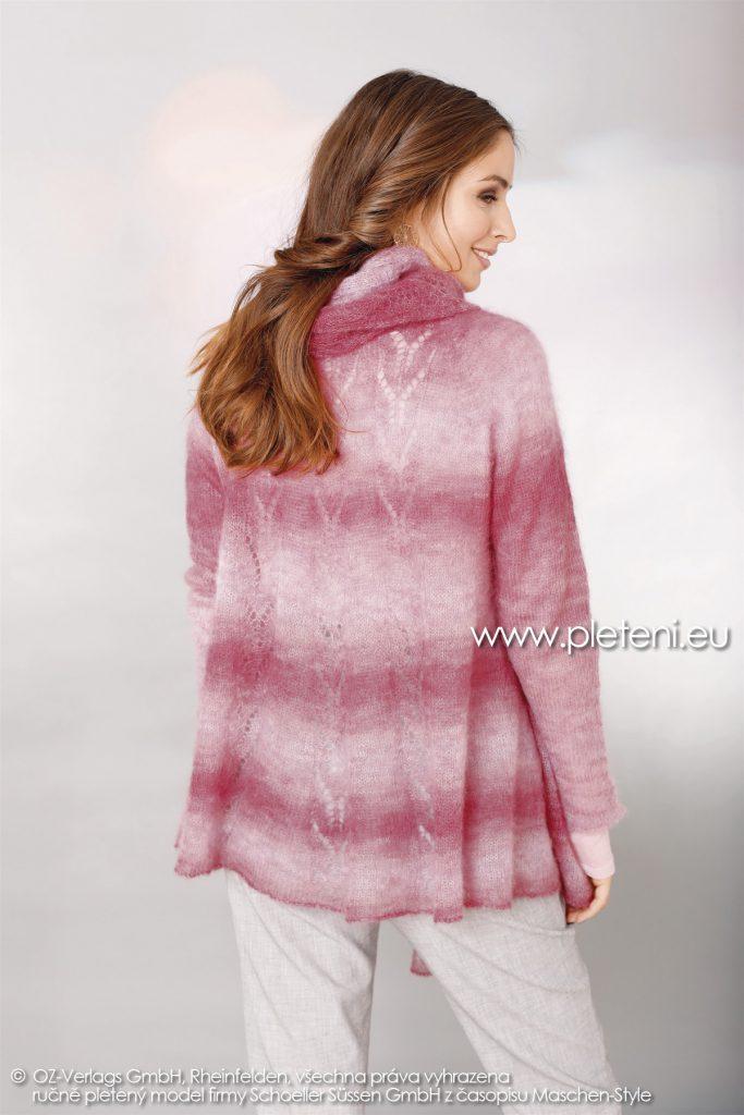2018-Z-07 dámský pletený kabátek a šála z příze Kid Silk Degradé nebo Tender Kid firmy Schoeller