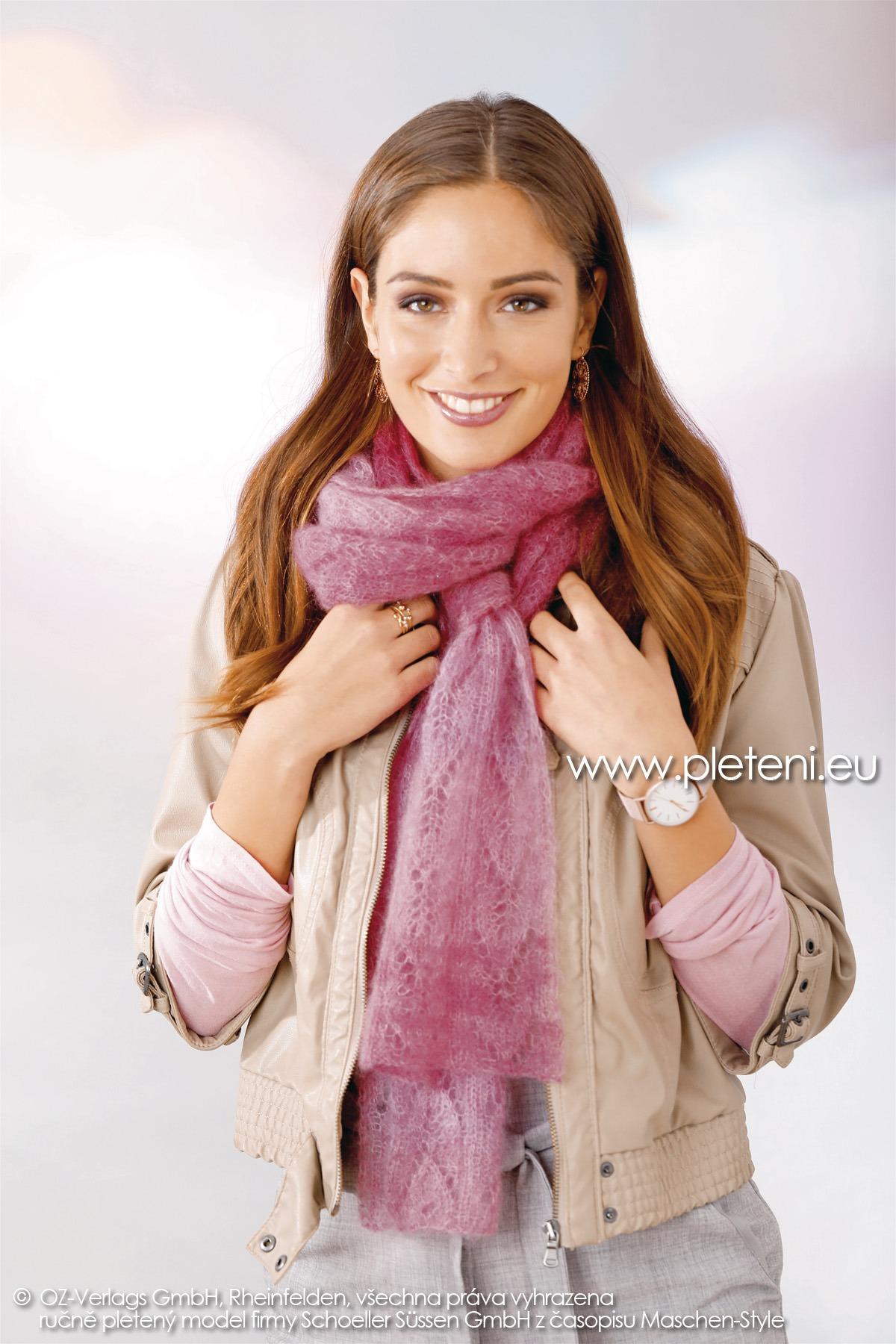 2018-Z-07 dámský pletený šál z příze Kid Silk Degradé nebo Tender Kid firmy Schoeller