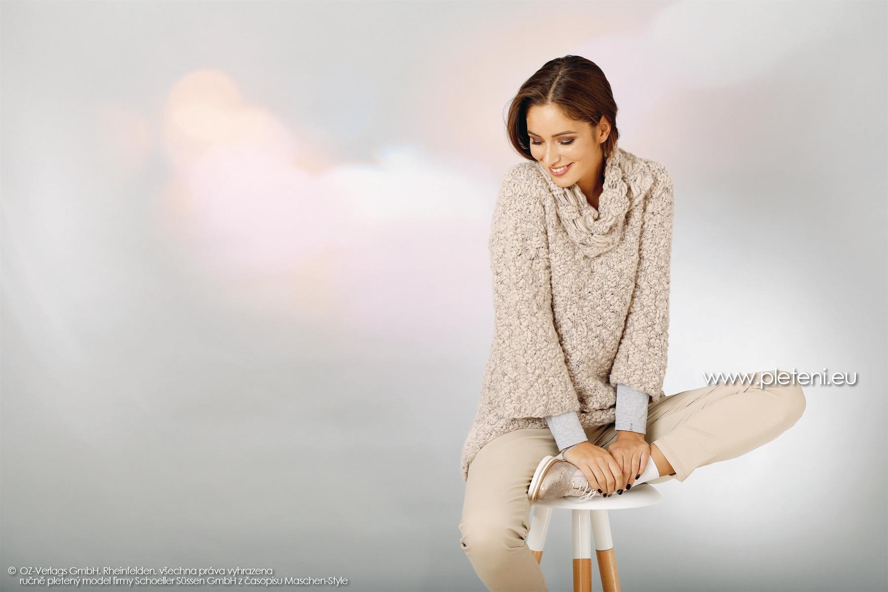 2018-Z-09 dámský pletený svetr a nákrčník z příze Big Flame firmy Schoeller