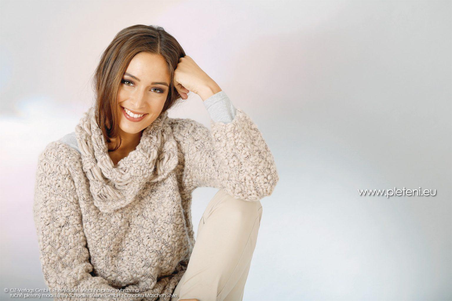 44f9849458e 2018-Z-09 dámský pletený svetr a nákrčník z příze Big Flame z kolekce ručně  pletených oděvů firmy Schoeller podzim-zima 2018-2019