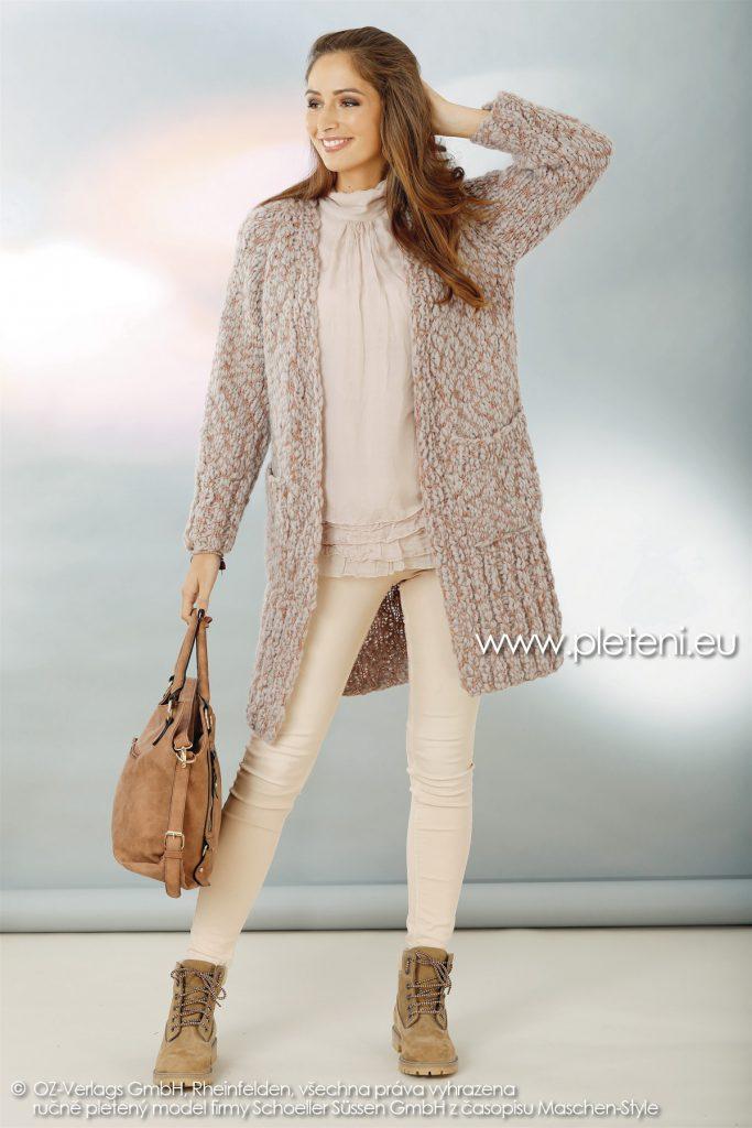 2018-Z-12 dámský pletený kabát z příze Big Flame firmy Schoeller