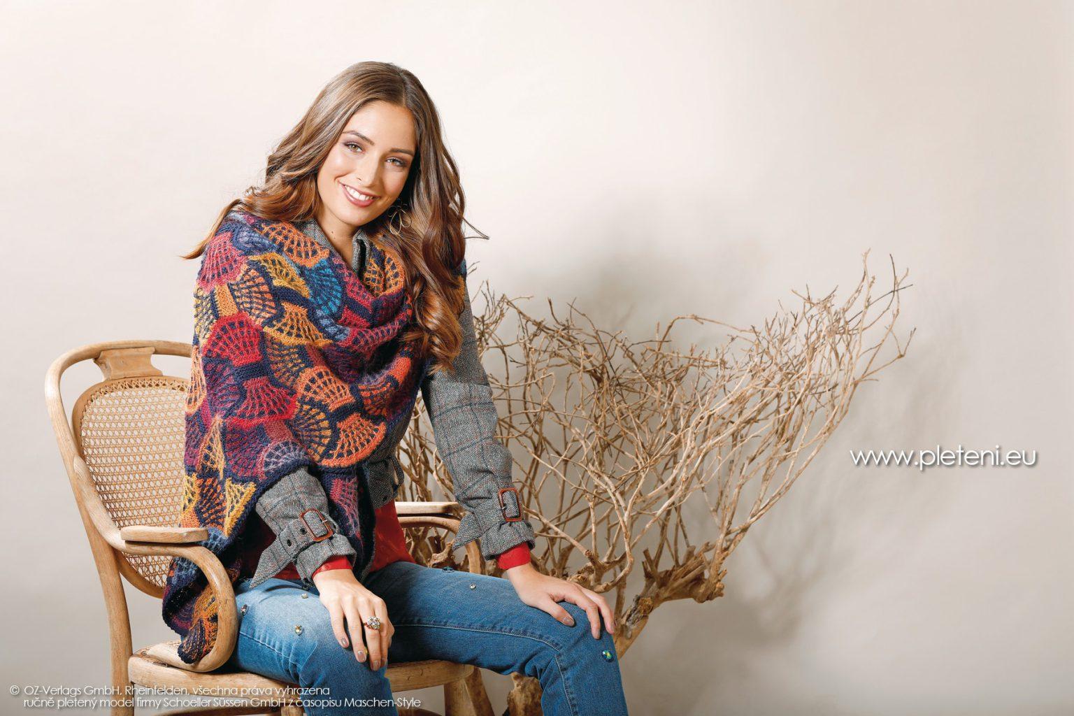 2018-Z-13 pletený zavinovací šátek z přízí Merino 160 EXP a Caleido Lace firmy Schoeller
