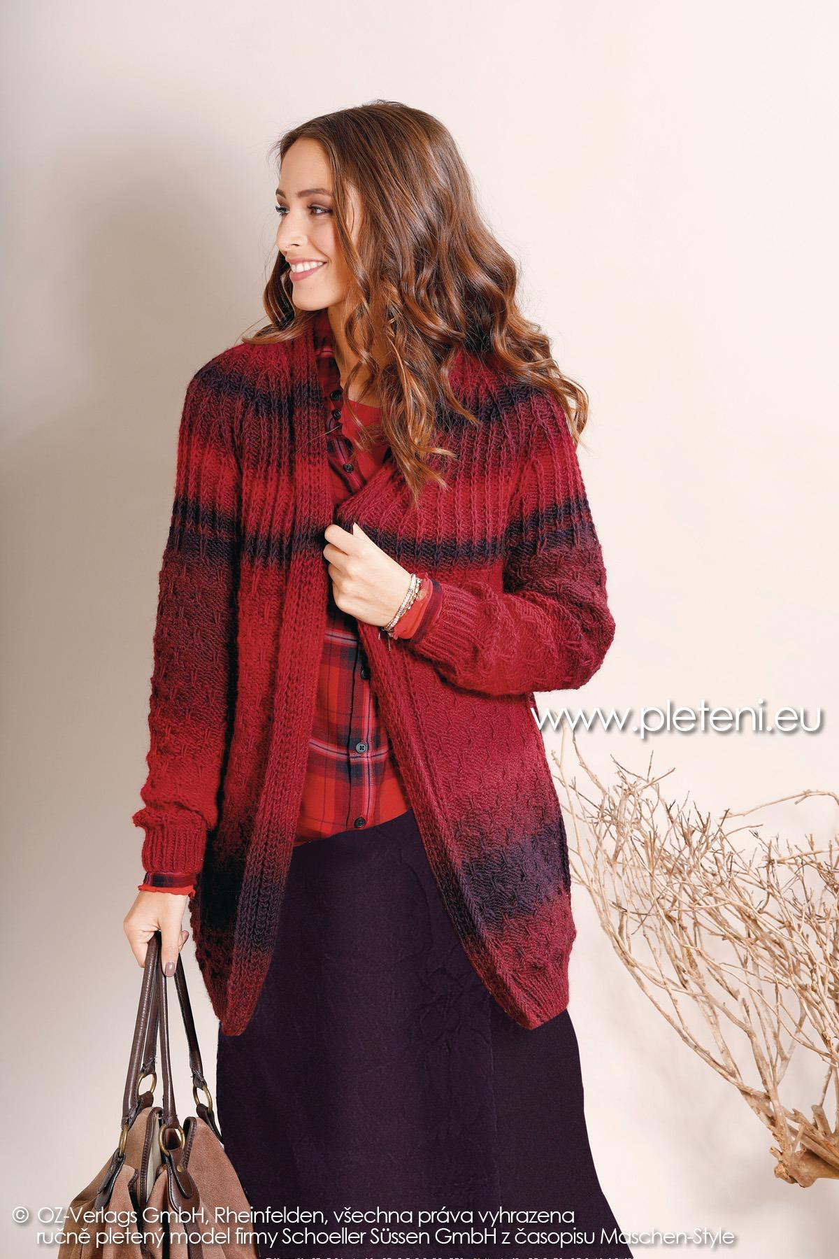2018-Z-14 dámský pletený kabátek z příze Chic & Warm nebo Caleido firmy Schoeller