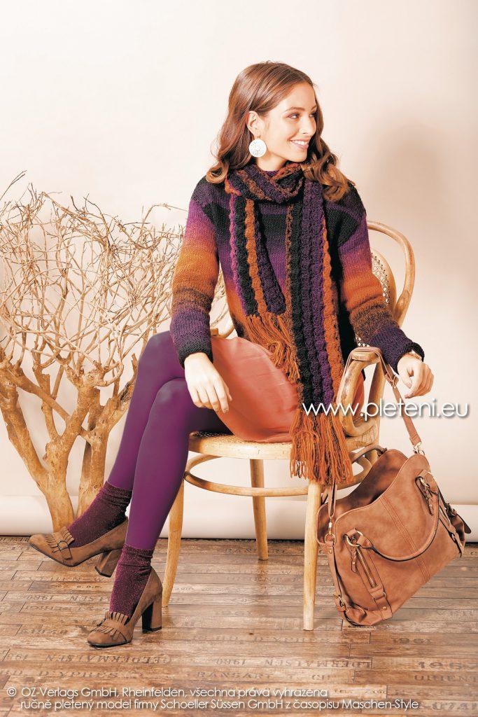 2018-Z-15 dámský pletený svetr a háčkovaná šála z příze Chic & Warm nebo Caleido firmy Schoeller