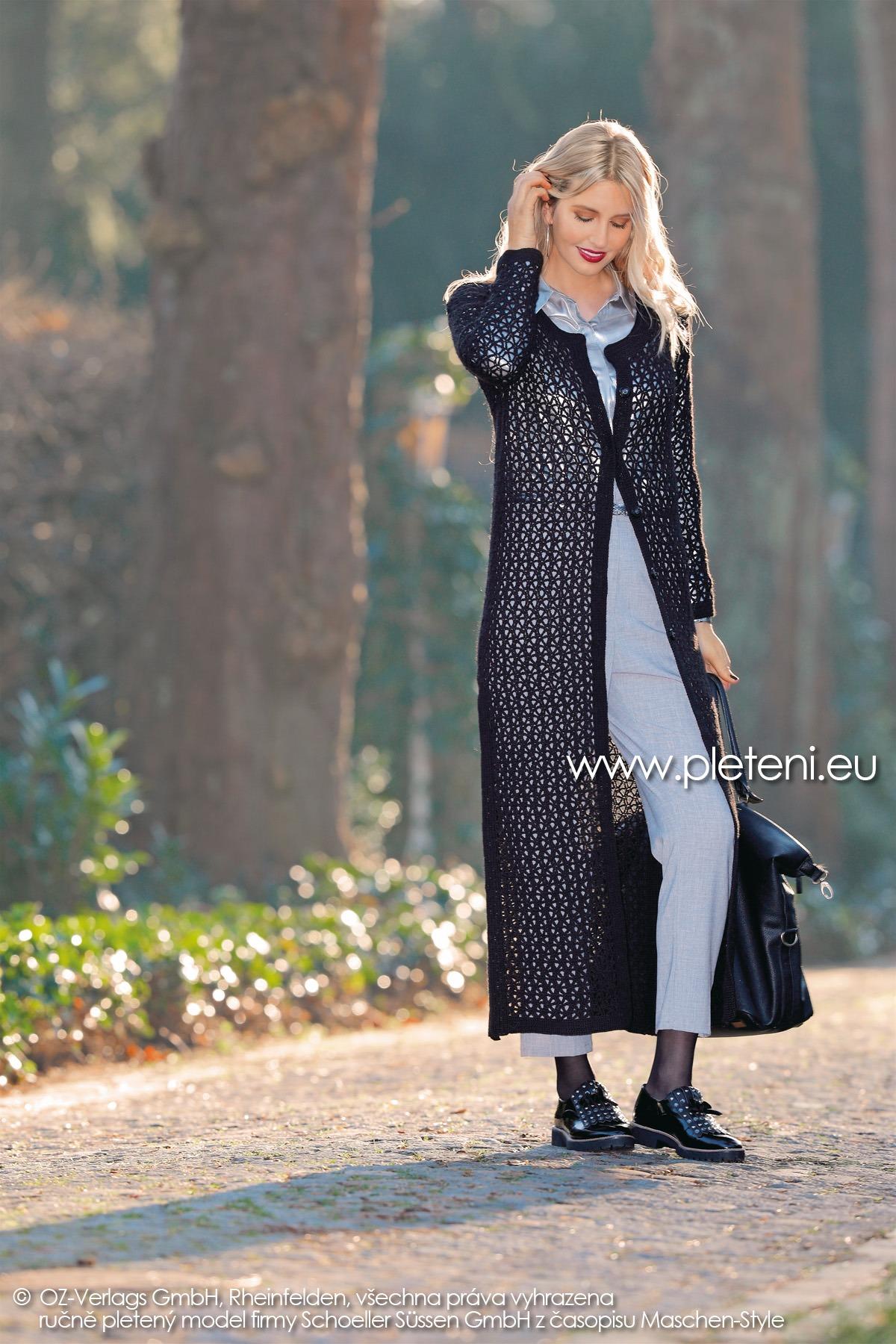 2018-Z-22 dámský háčkovaný kabát z příze Step Classic firmy Schoeller
