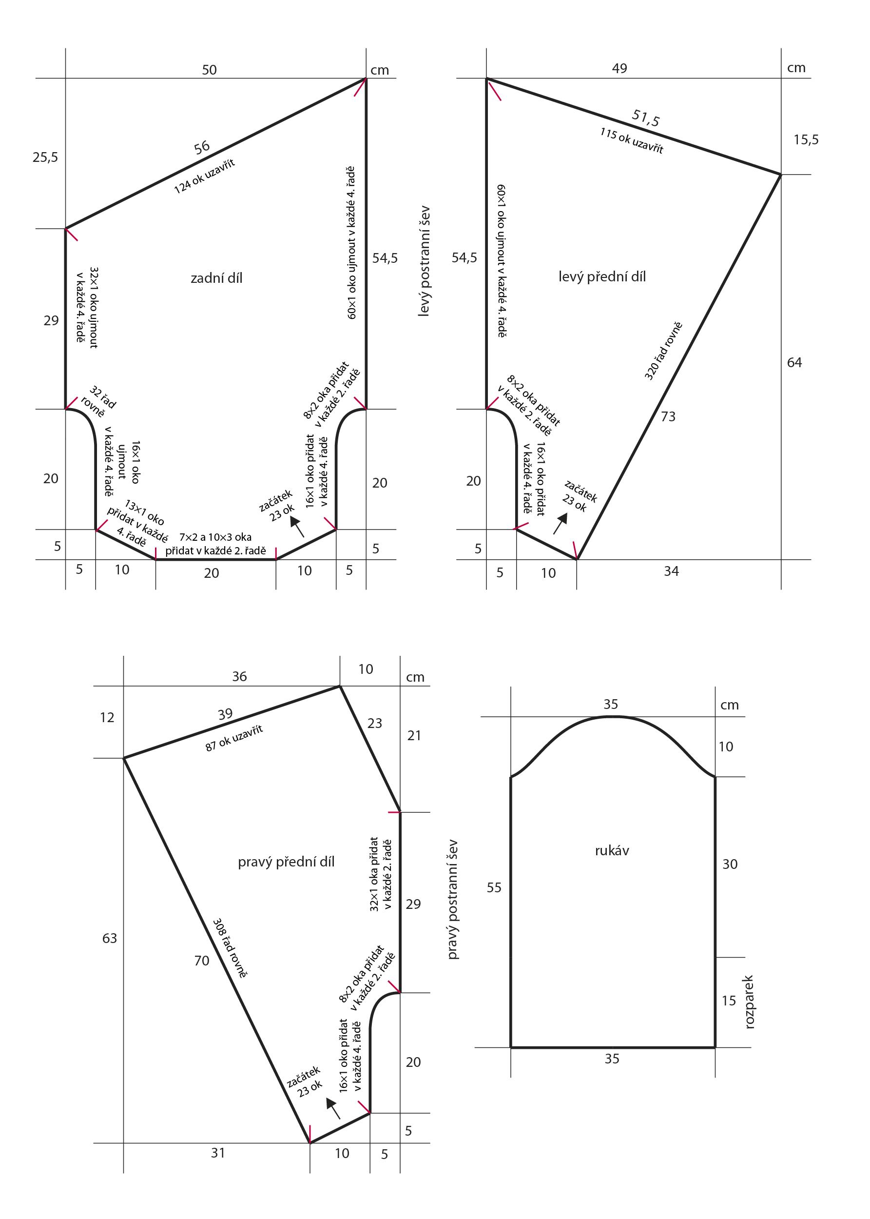2018-Z-23 střih dámského pleteného kabátku