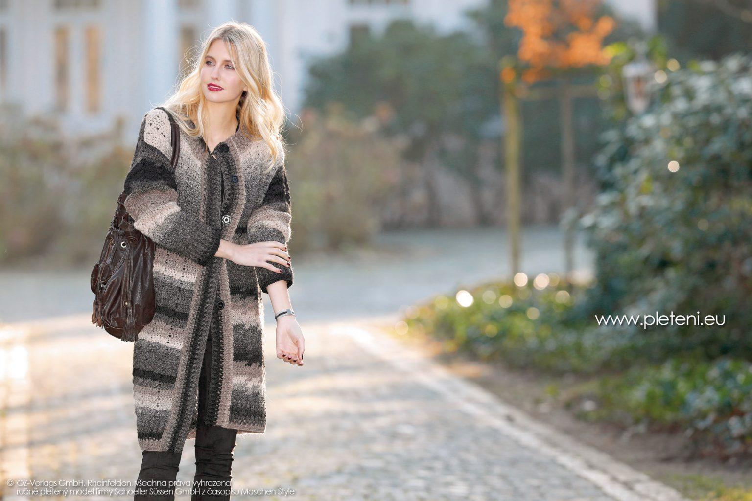 2018-Z-24 dámský háčkovaný kabát z příze Chic & Warm firmy Schoeller