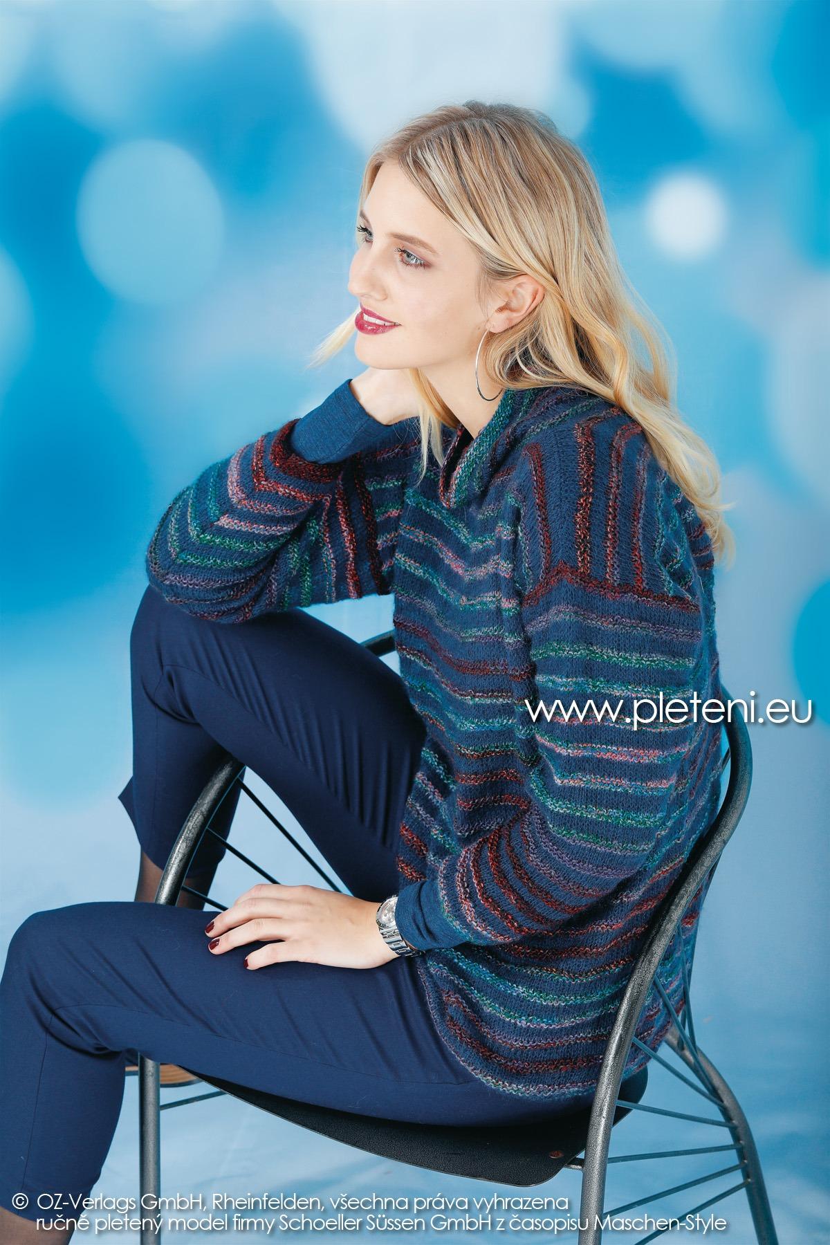 2018-Z-25 dámský pletený pruhovaný svetr z přízí Mia Bella a Kid Silk firmy Schoeller