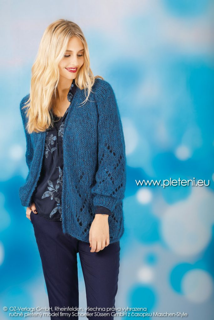 2018-Z-28 dámský pletený kabátek z příze Kid Silk firmy Schoeller
