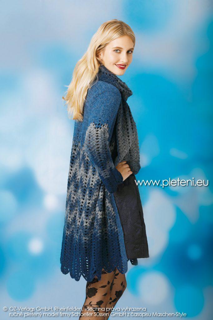 2018-Z-31 dámský háčkovaný kabát z přízí Ambra Color a Ambra Melange firmy Schoeller
