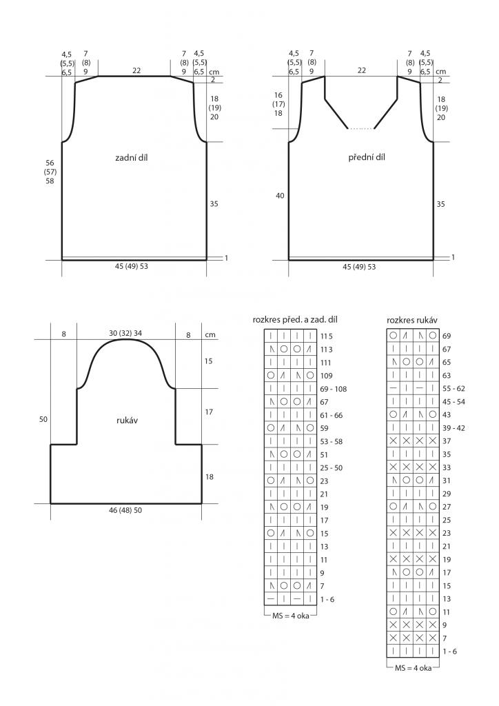 2019-L-01 střih a rozkres dámského pleteného svetru