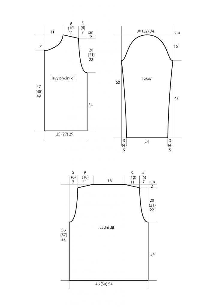 2019-L-06 střih dámského pleteného kabátku s pruhy