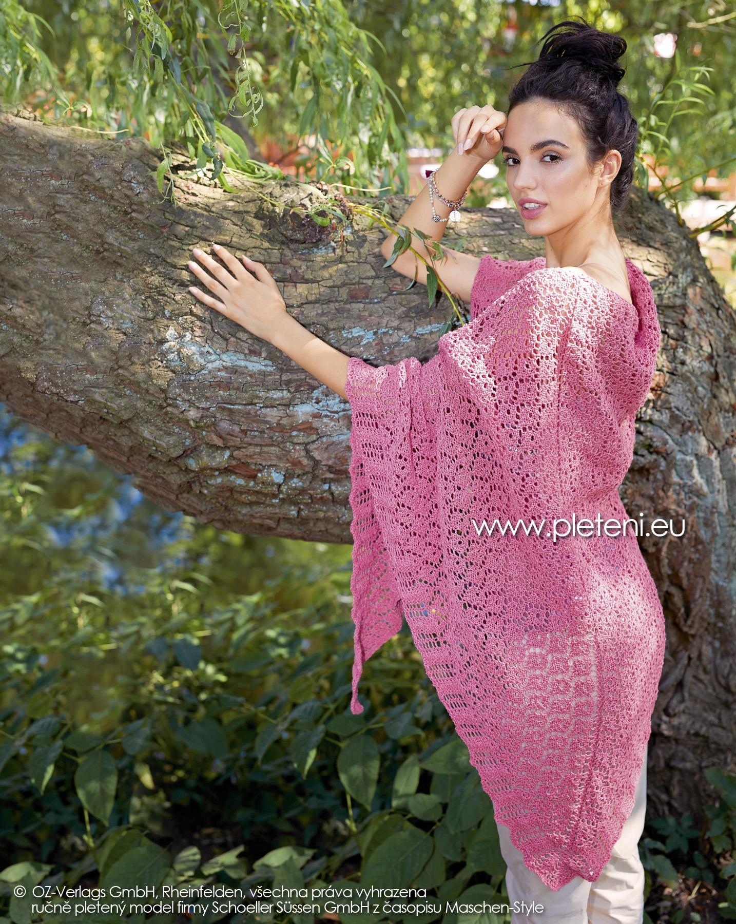 2019-L-10 pletený trojcípý šátek z příze Merino Cotton firmy Schoeller