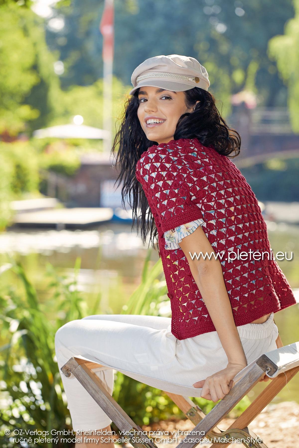2019-L-11 dámský háčkovaný kabátek z příze Merino Cotton firmy Schoeller
