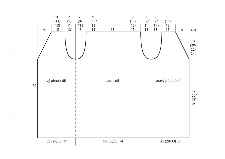 2019-L-13 střih dámské pletené vesty