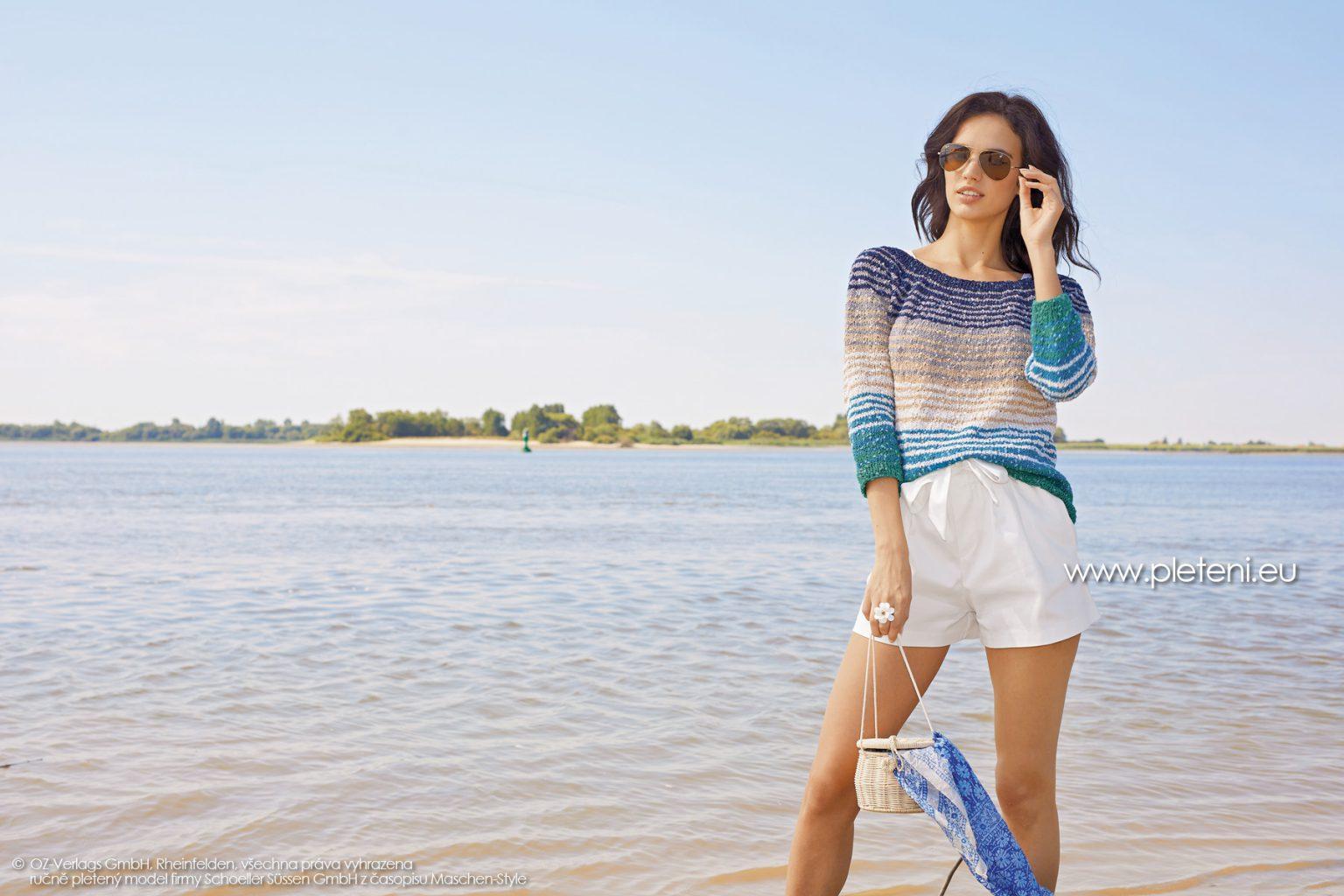 2019-L-17 dámský pletený svetr z příze Secret Shine firmy Schoeller