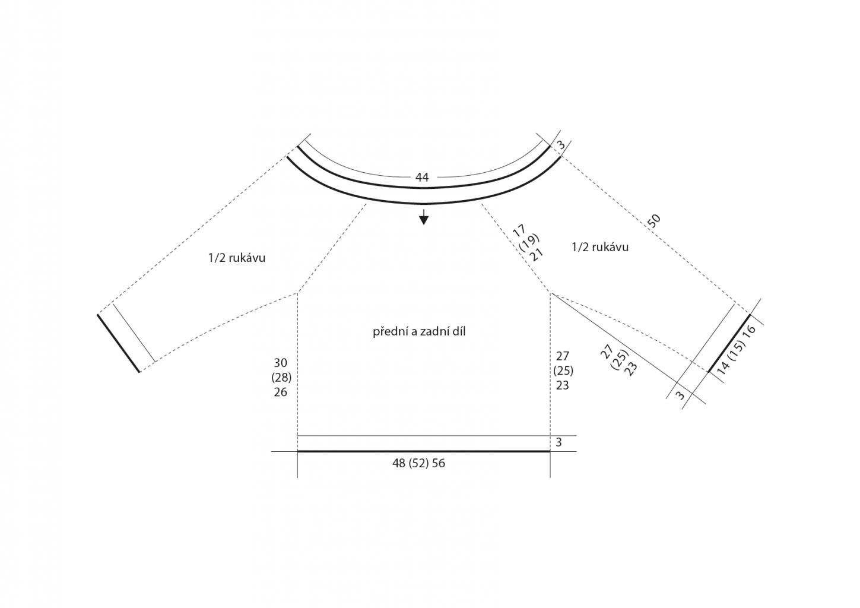 2019-L-17 střih dámského pruhovaného svetru