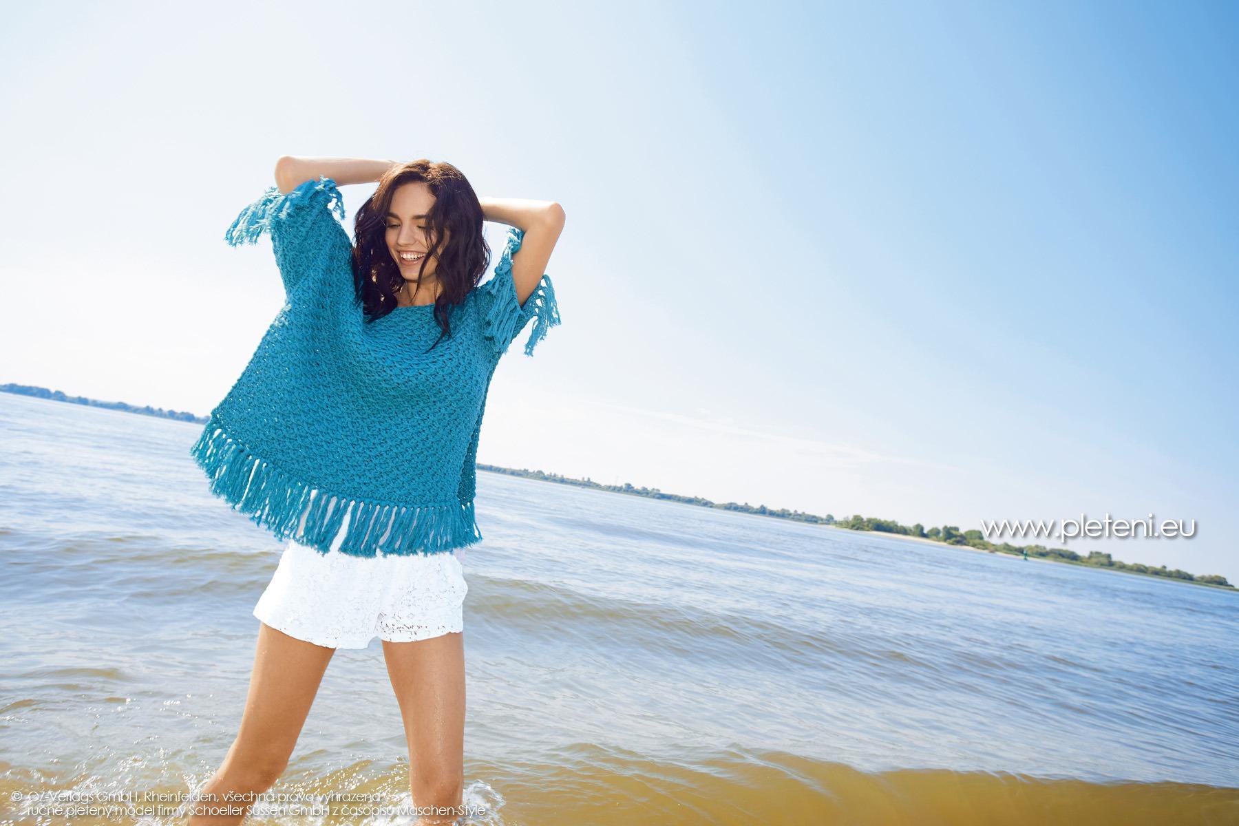2019-L-18 dámský pletený pončo svetr z příze Sienna Recycled firmy Schoeller