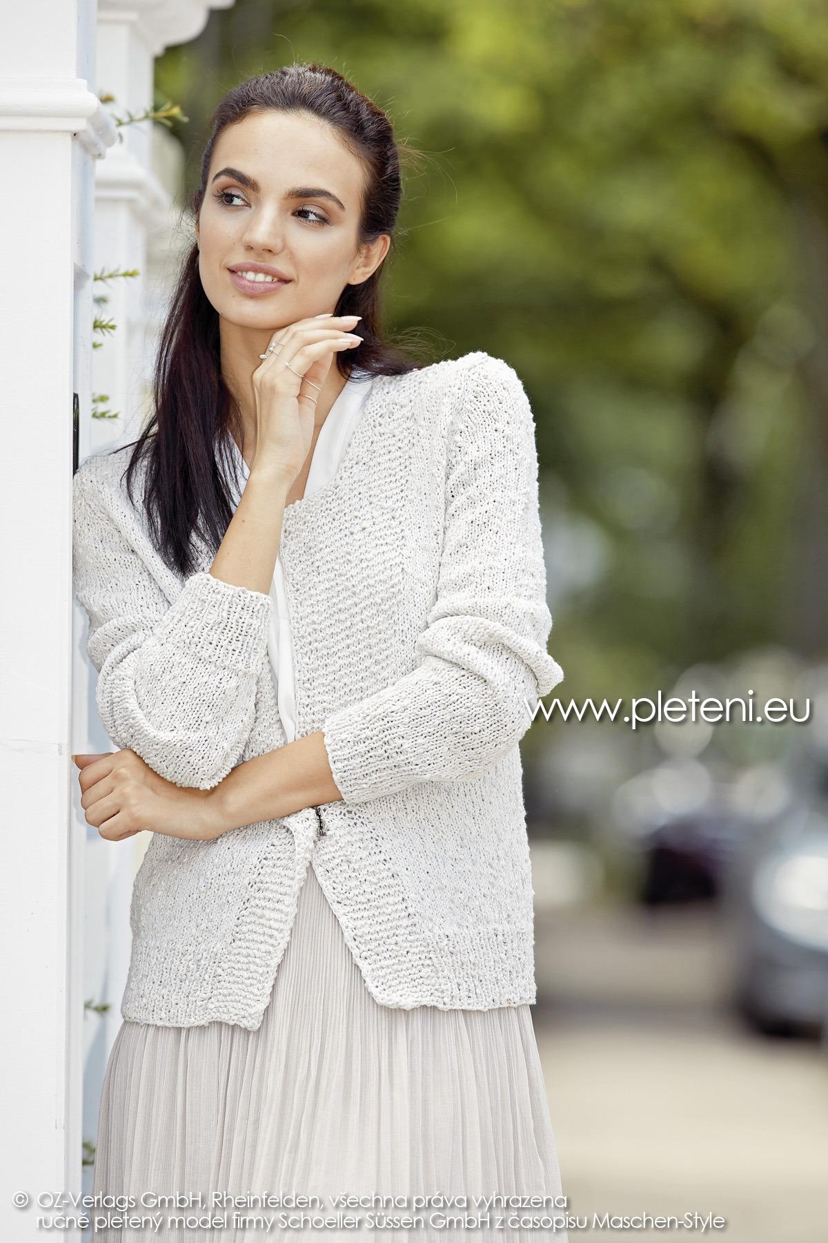 2019-L-20 dámský pletený kabátek z příze Secret Shine firmy Schoeller