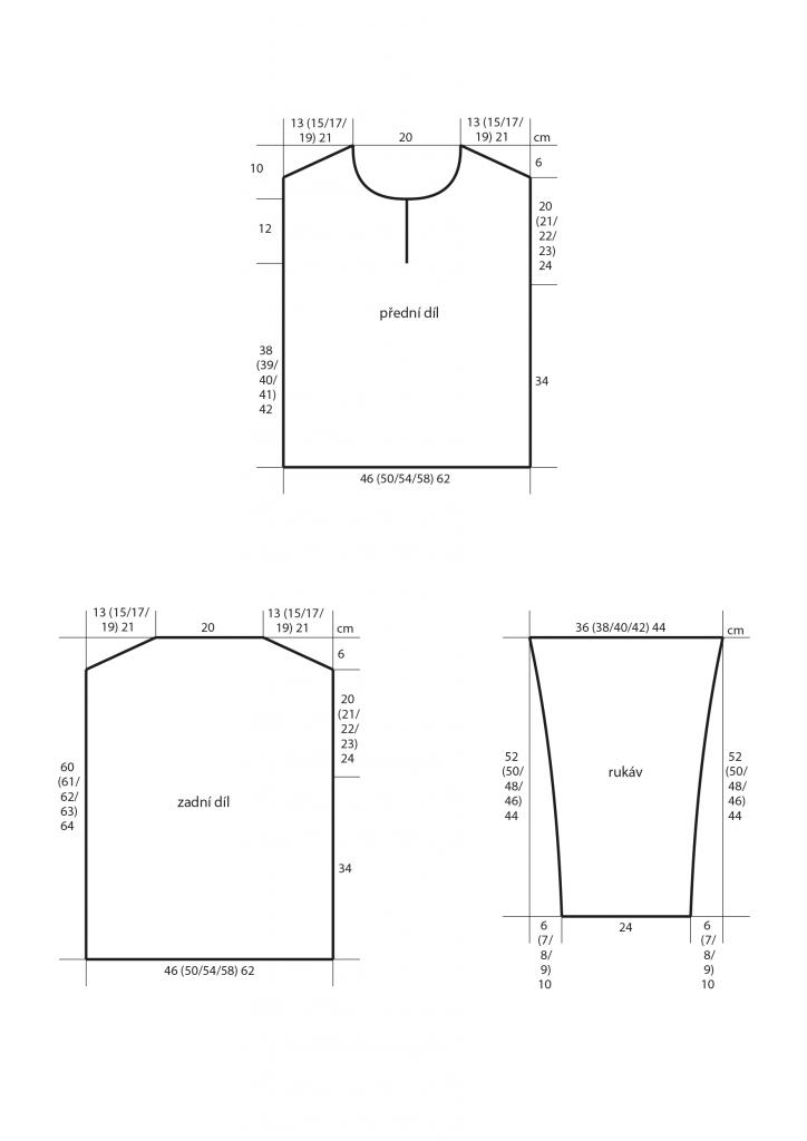 2019-L-21 střih dámského letního svetru z rozparkem
