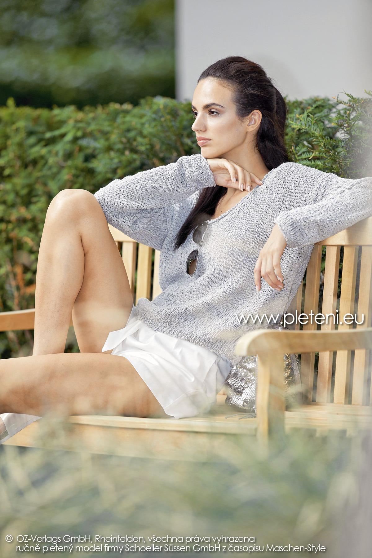 2019-L-23 dámský pletený svetr z příze Secret Shine firmy Schoeller
