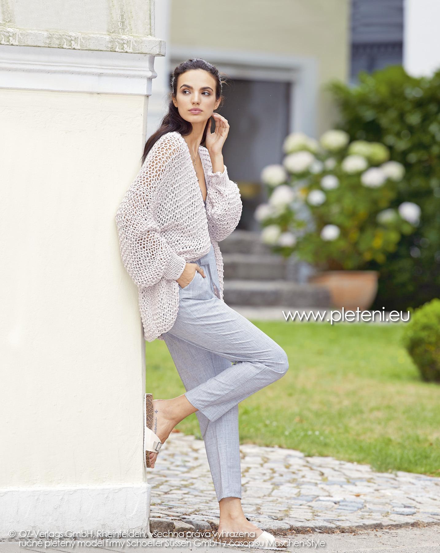 2019-L-24 dámský pletený kabátek z příze Sienna Recycled firmy Schoeller