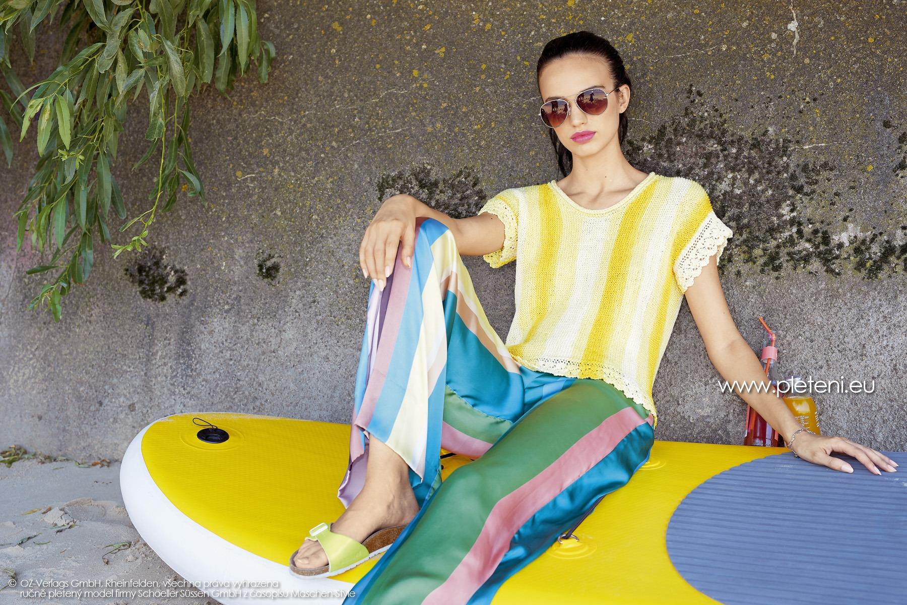 2019-L-26 dámský pletený top z příze Caribic Sun firmy Schoeller