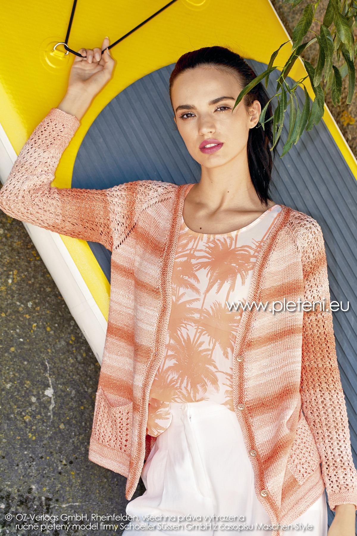 2019-L-27 dámský pletený kabátek z příze Caribic Sun firmy Schoeller