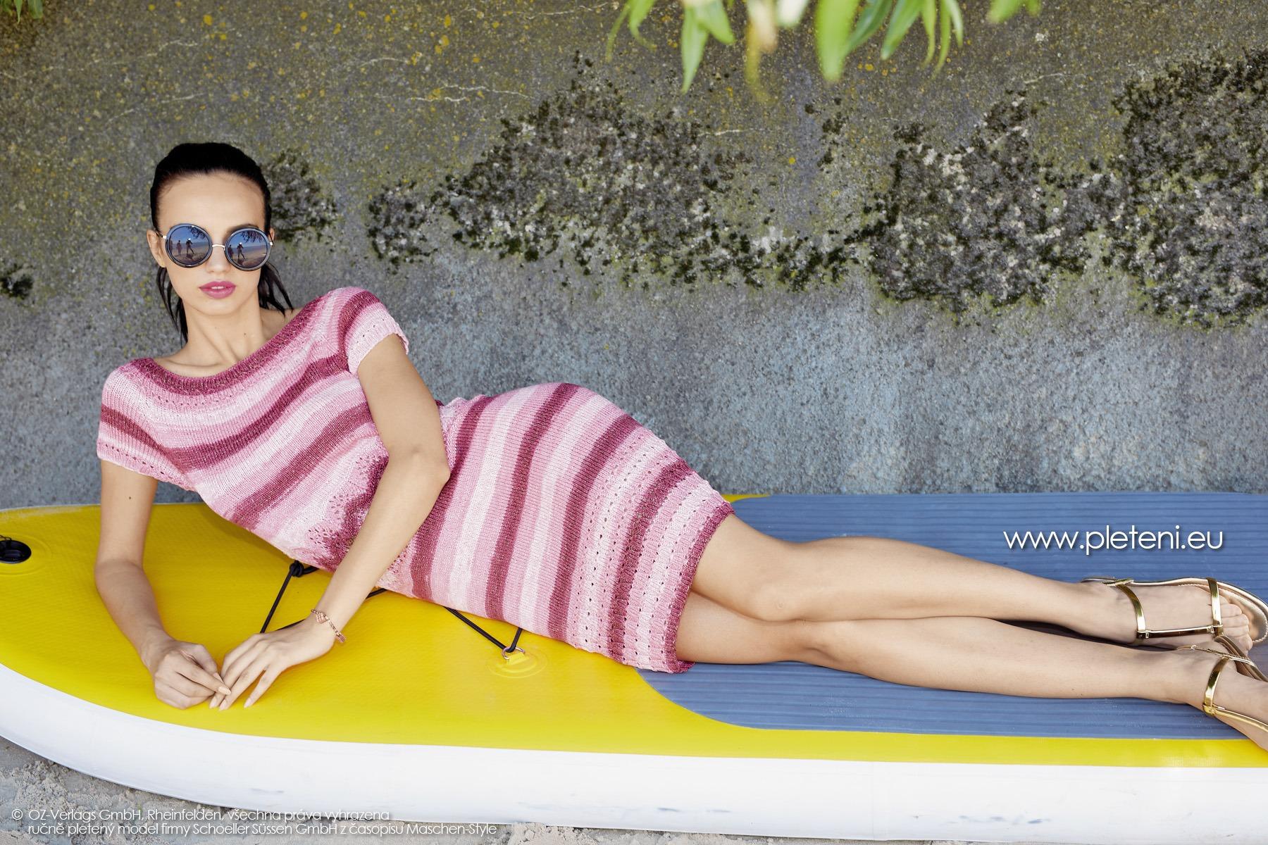 2019-L-28 dámské pletené šaty z příze Caribic Sun firmy Schoeller