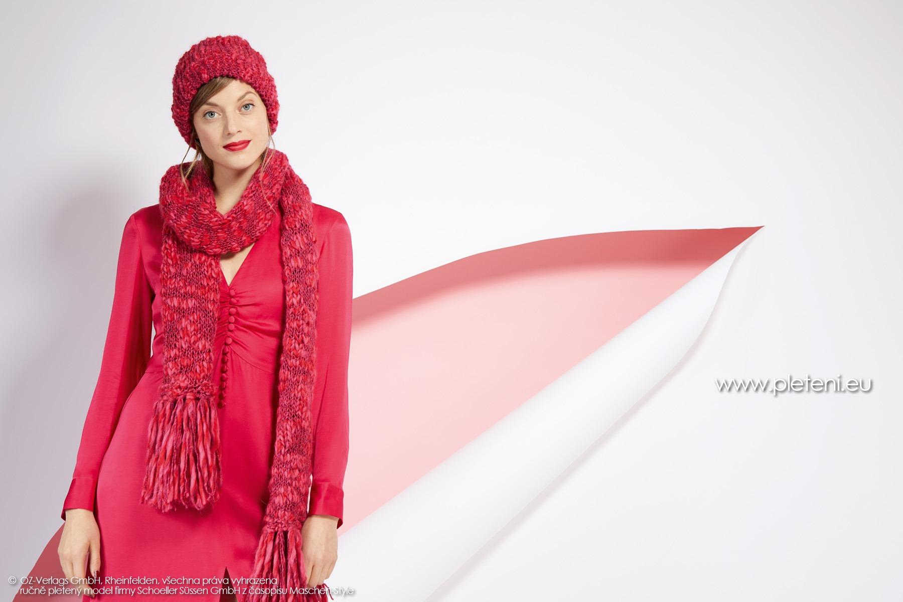 2019-Z-02-03 pletená dámská šála a čepice z příze Jamalia značky Austermann