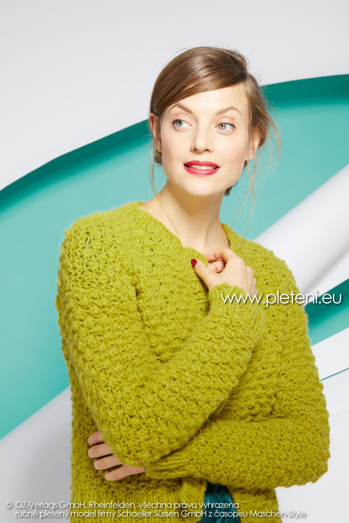 2019-Z-07 pletený dámský kabátek z příze Alpaca Fluffy značky Austermann
