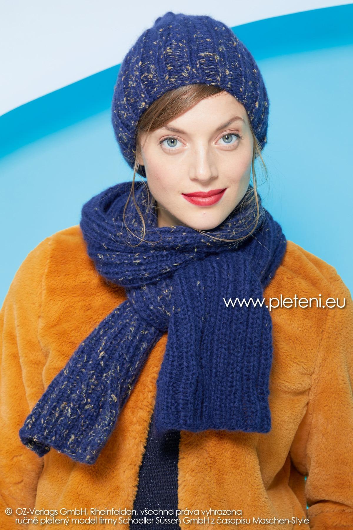 2019-Z-08-09 pletená dámská šála a čepice z příze Raindrops Degradé značky Austermann