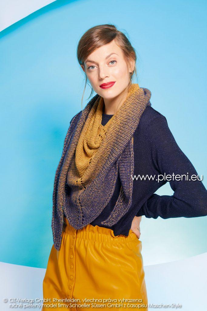 2019-Z-10 pletený dámský trojcípý šátek z příze Delicate značky Austermann