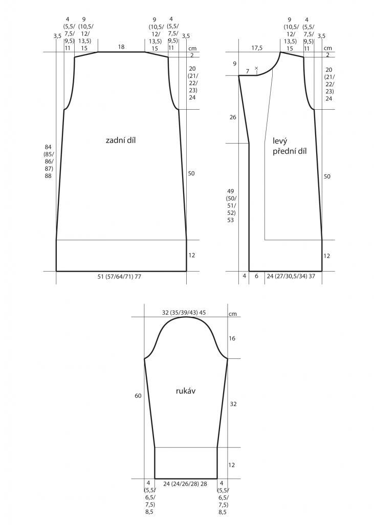 2019-Z-12 střih dámského pleteného kabátu