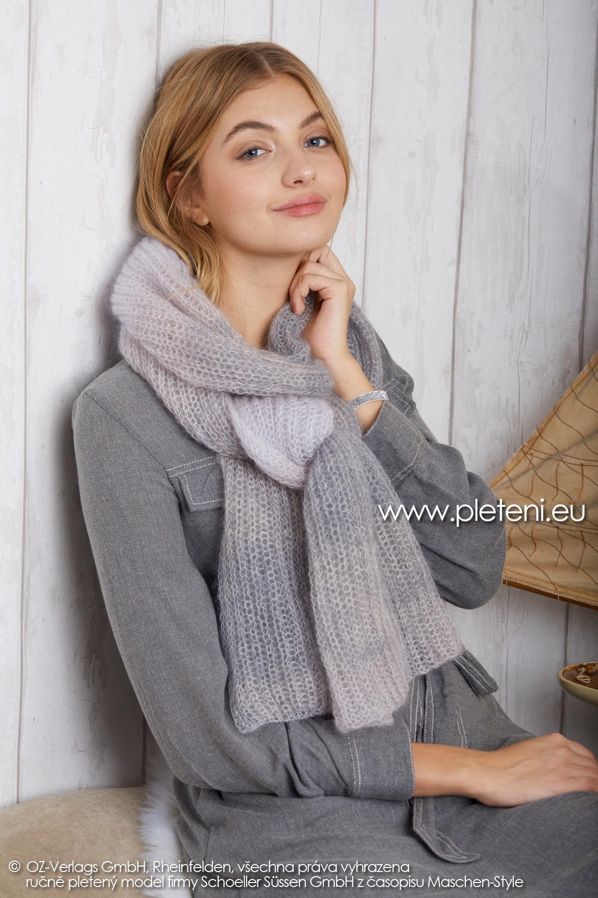 2019-Z-13 pletená dámská šála z příze Kid Silk Degradé značky Austermann