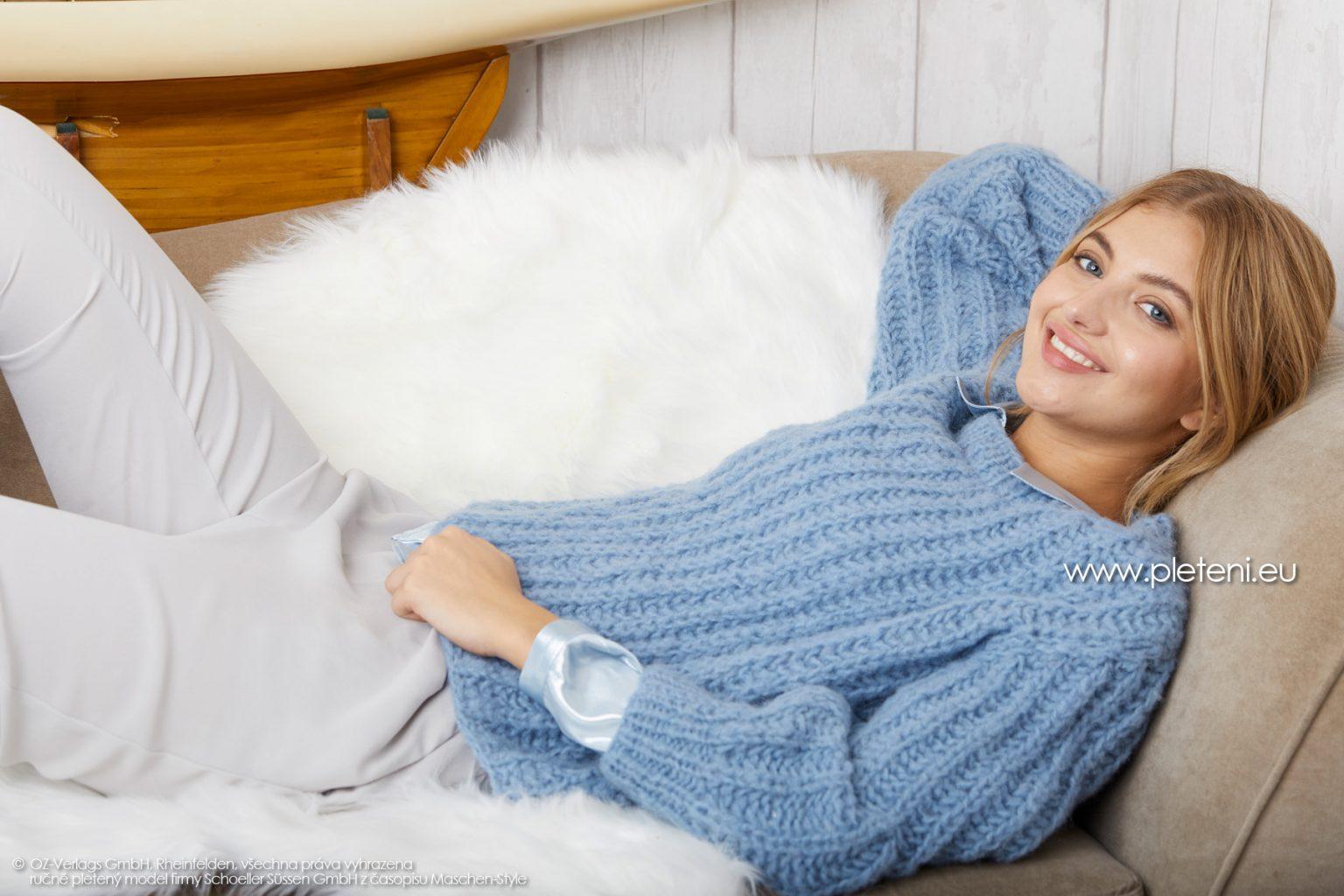 2019-Z-16 pletený dámský svetr z příze Alpaca Fluffy značky Austermann