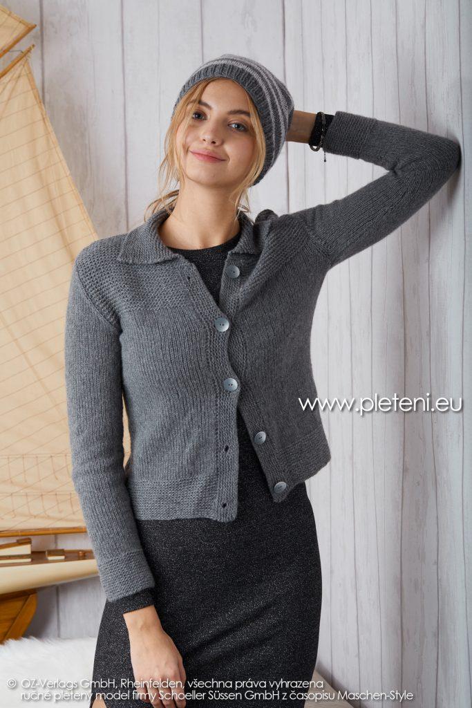 2019-Z-18-19 pletený dámský kabátek a čepice z příze Cashmere Pure značky Austermann