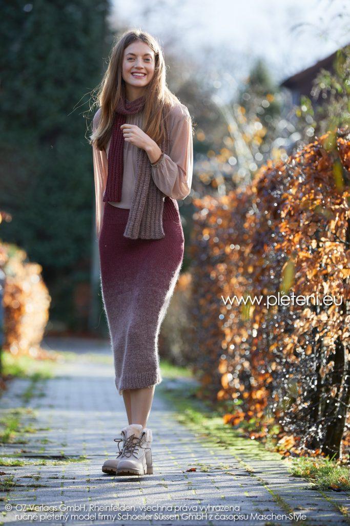 2019-Z-26-27 pletená dámská sukně a šála z příze Delicate značky Austermann