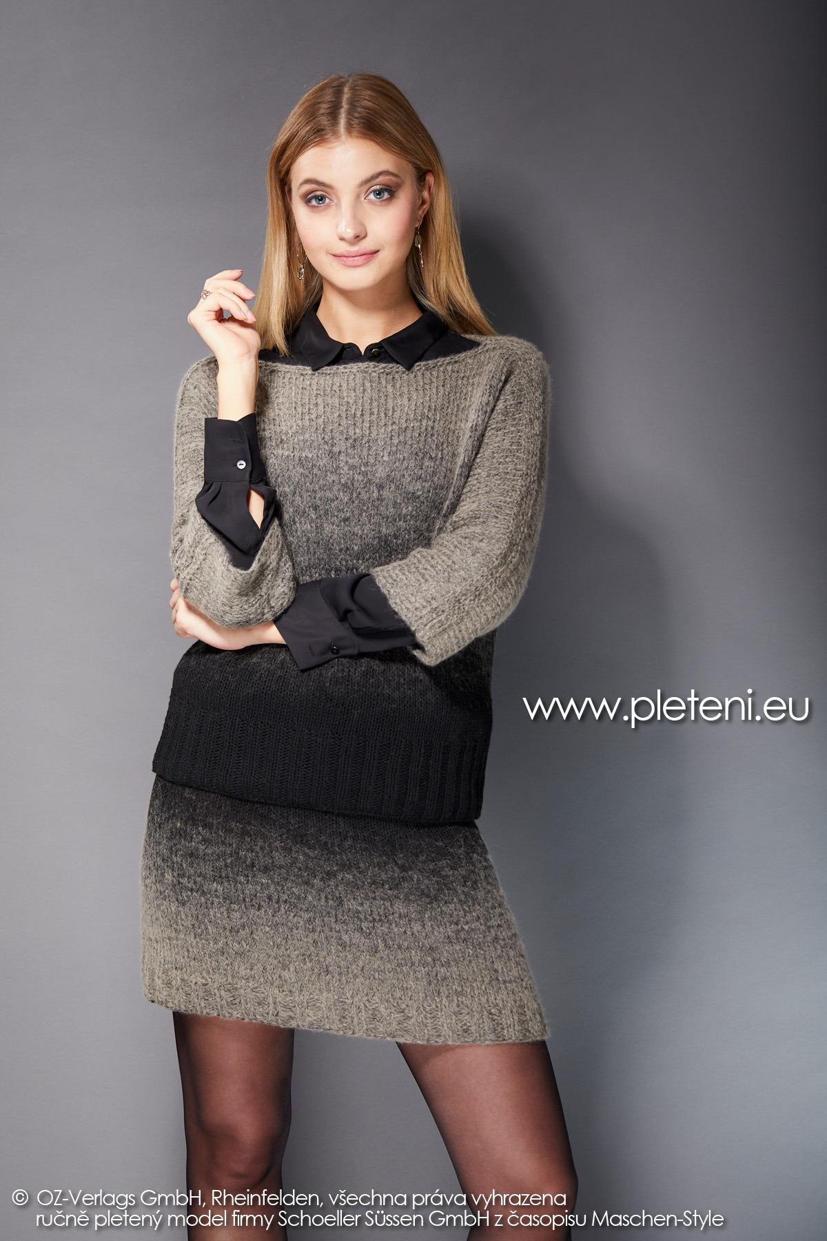 2019-Z-31-32 pletený dámský svetr a sukně z příze Delicate značky Austermann
