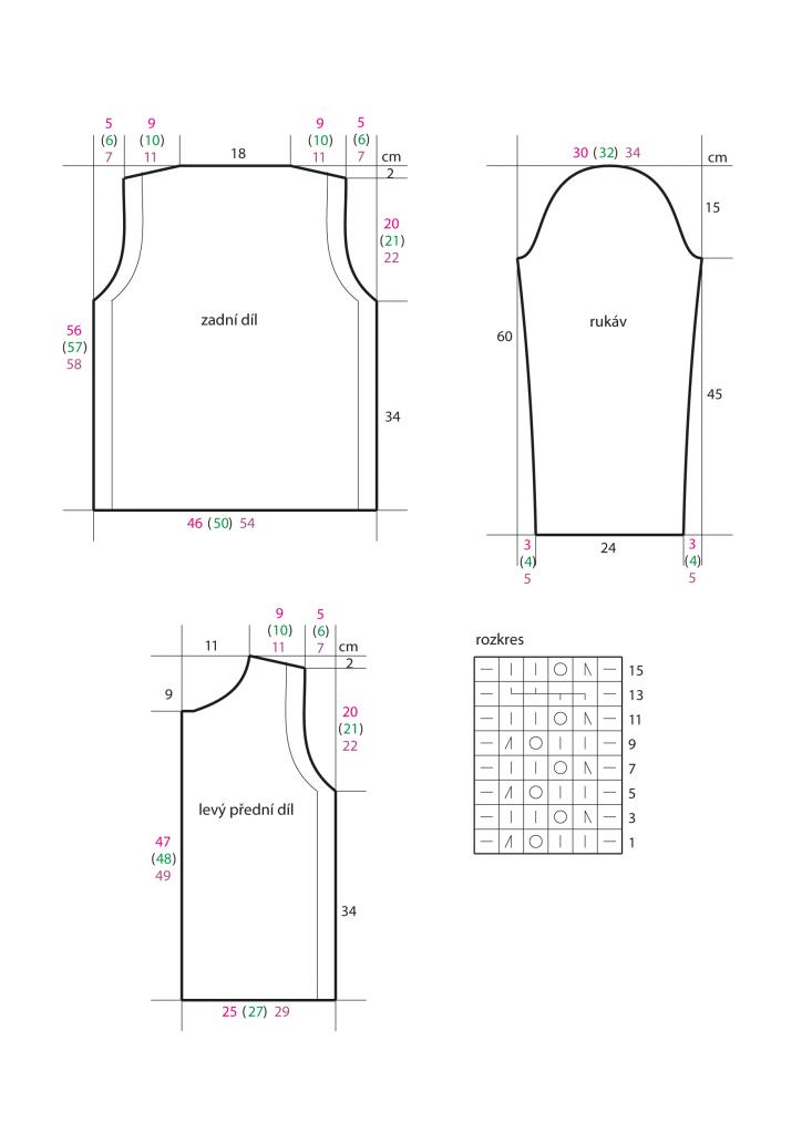 2020-L-0 střih a rozkres - pletený dámský kabátek z příze Star Cotton značky Austermann