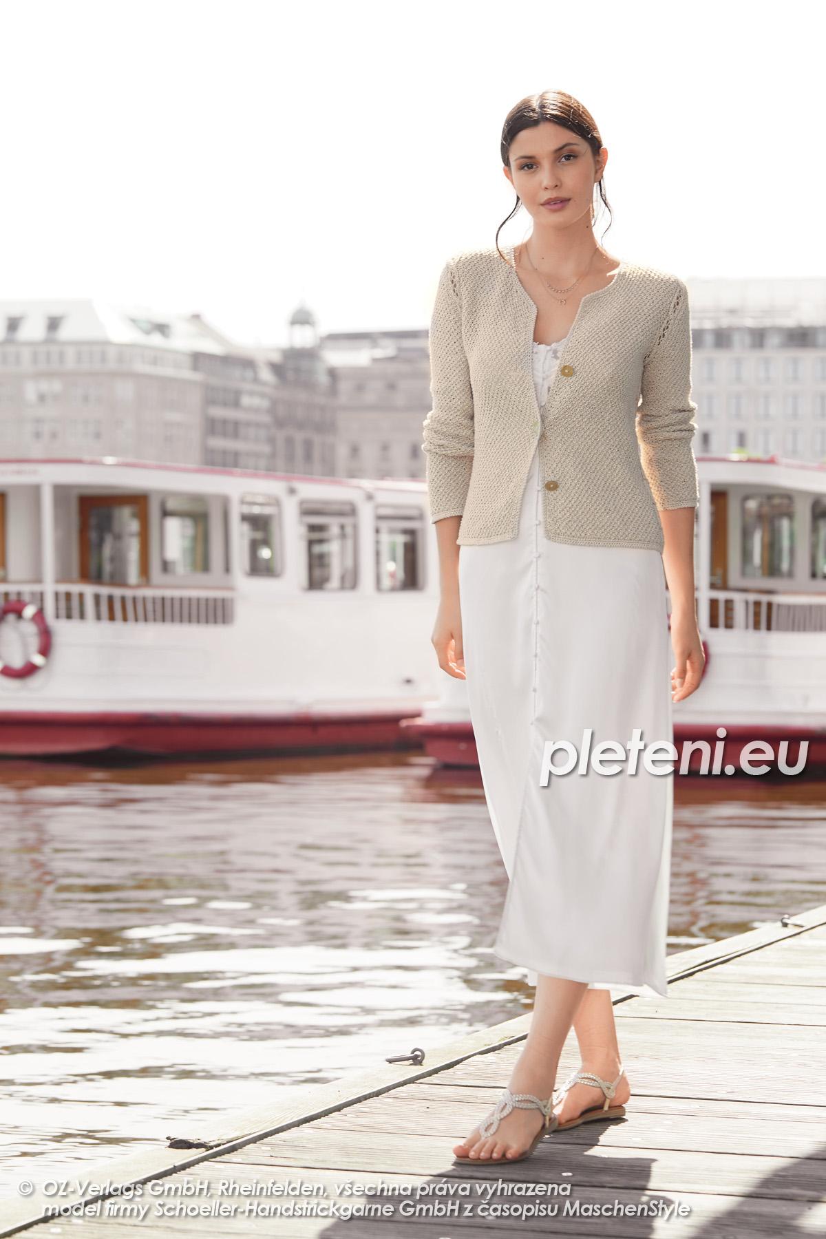 2020-L-06 pletený dámský kabátek z příze Star Cotton značky Austermann