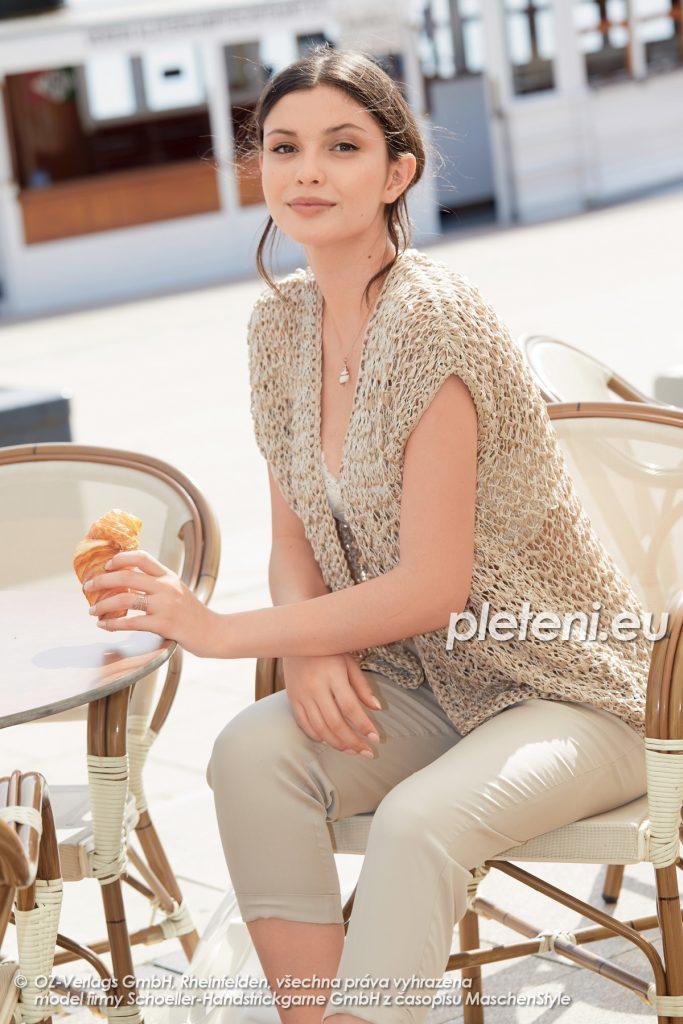 2020-L-08 pletená dámská vesta z přízí Senada a Star Cotton značky Austermann