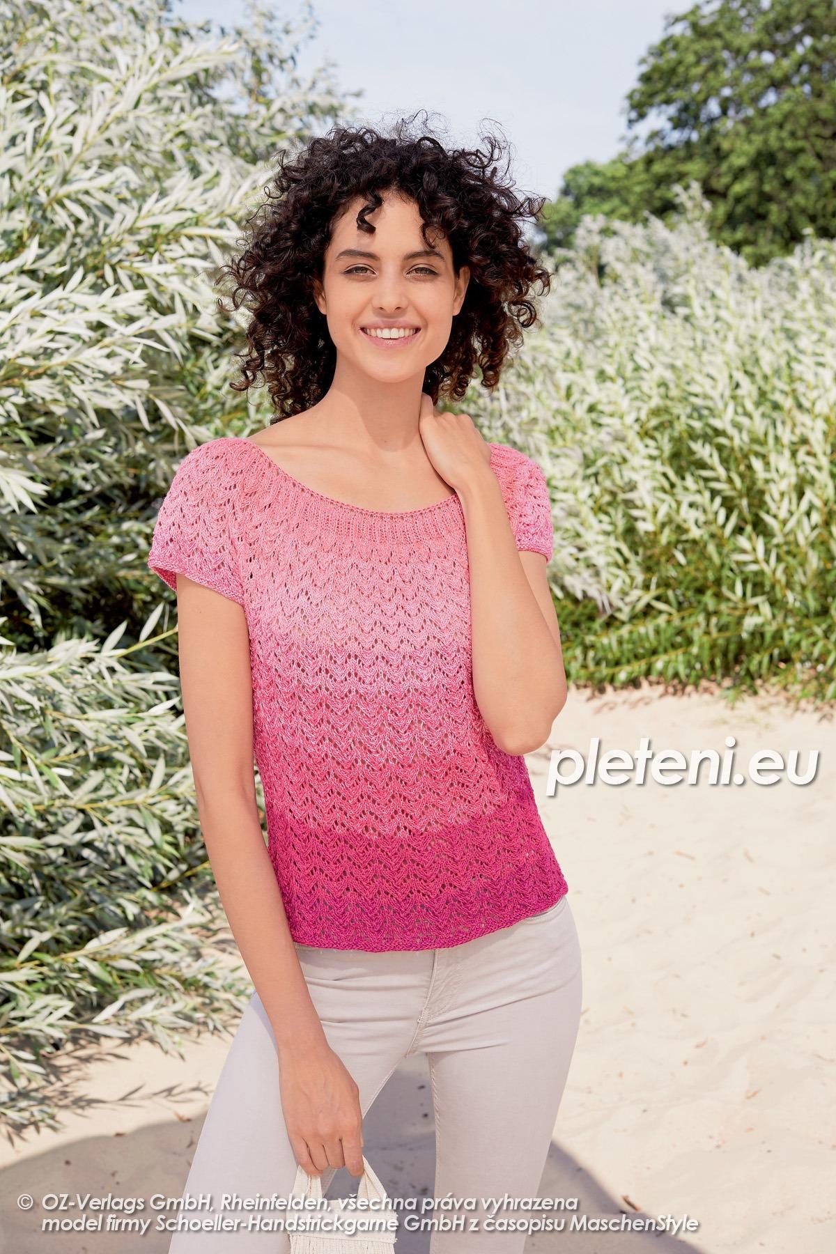 2020-L-09 pletený dámský top z příze Fantasy Colours značky Austermann