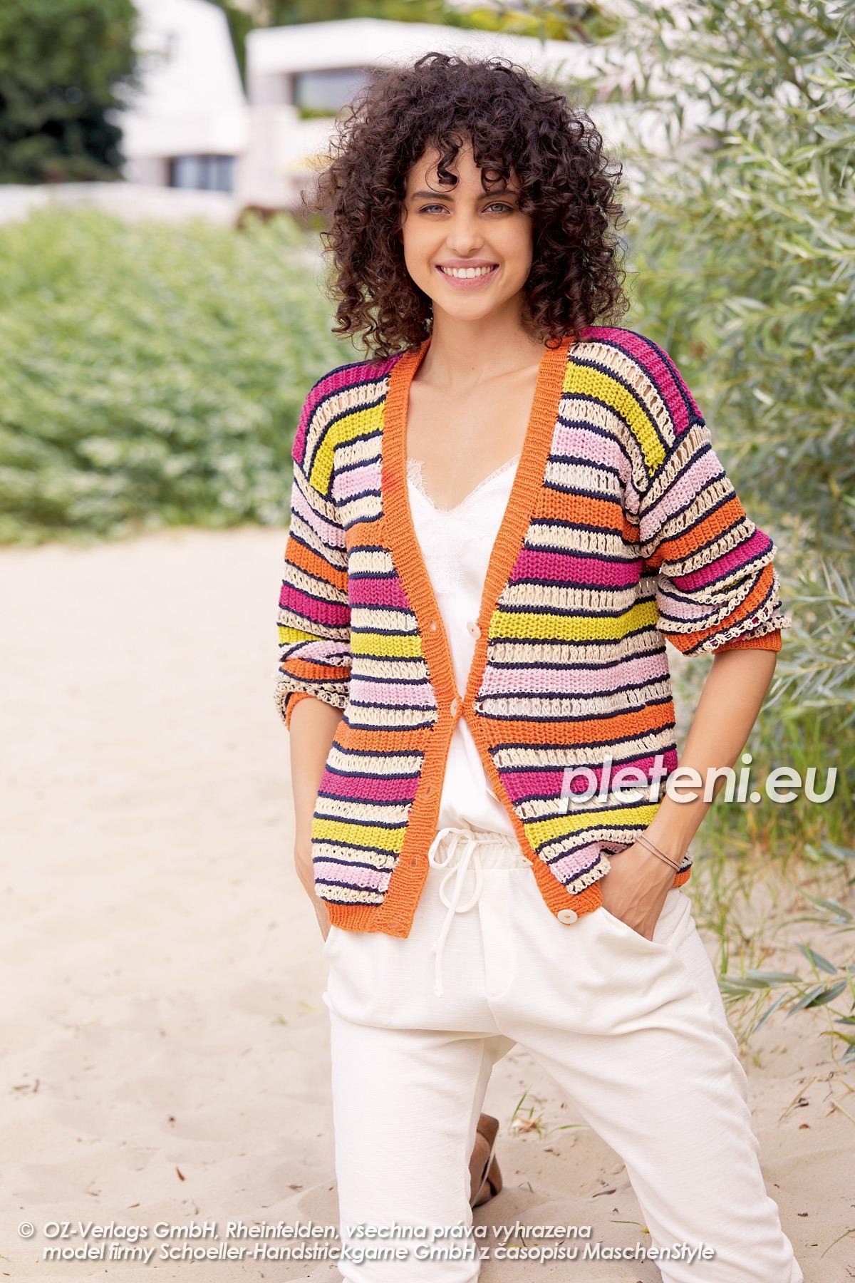 2020-L-11 pletený dámský kabátek z příze Start Cotton značky Austermann